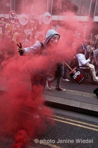 Anarchists at Anti-austerity march through central london June 20th 2014