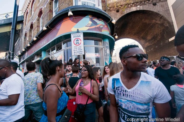 People celebrating at annual Brixton Big Splash festival