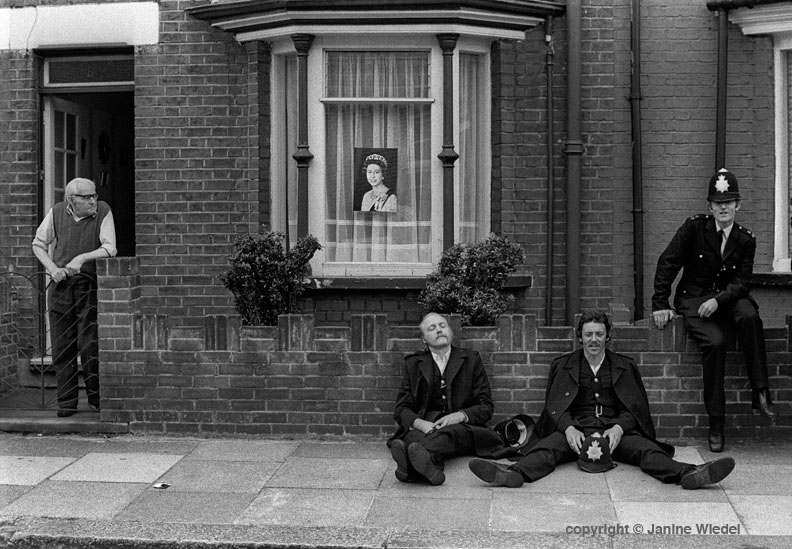 Police resting while policing the Grunwick protest London 1976