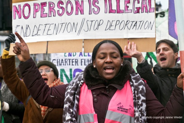 March against mass deportation orgainised by Movement for Justice. Demanding UK government stop mass deportation via charter flights targeting the black and Asian communities.Every 2 months charter flights transport deportees to Nigeria, Ghana, Pakistan, Jamaica and Afghanistan.
